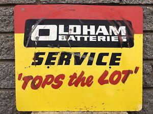 Vintage Rare Original Oldham Batteries Metal Garage Advertising Sign