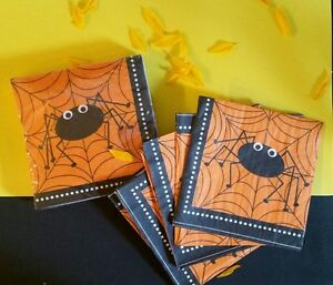 80 pcs Halloween Spider(Orange/Black/White) Lunch/Dinner Napkins. USA SELLER
