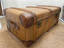 Antique Vintage Cabin Steamer Trunk by Orient Aquitania Cunard Labels Initiall