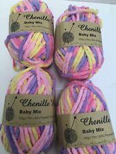 Multi Chenille Knitting Yarn 4 X 100g 20 Acrylic Yarn 80 Polyester Wool 6mm Red Mix