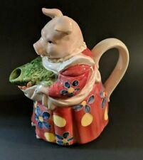 OTAGIRI Ceramic Pig Teapot THE EDITH COLLECTION Japan Country farm kitchen Decor