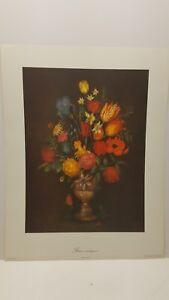 Vintage Lithograph Art Print Ancient Flowers Series No. 1