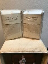New! Pier 1/One Chenille Beige Ribbed Pillow Sham Set Standard Size Set Of 2