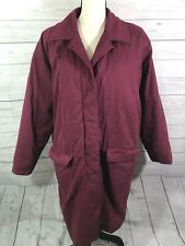 Eddie Bauer Women's Goose Down Full Length Puffer Coat Maroon Button Large Tall