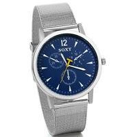 Luxus Silberfarbenes Mesh Edelstahlband Blaues Zifferblatt Analoge Armbanduhr