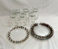 6 ea. Arcoroc Lunch Plates & Tumblers, Holly Leaves & Berries, Christmas, France