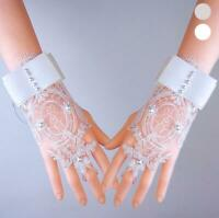 Bride Bridal Wedding Dress Short Gloves Beads Fingerless Gloves Lace Party Prom