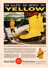 1957 Red Ball Footwear Yellow Hunting Boots Rifle Snow Vintage Print Ad