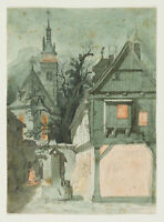 H. Stelzner (*1833), Verkündigungsszene in mittelalterlicher Kulisse, Aquarell