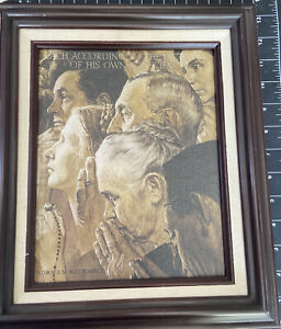 """1996 Norman Rockwell """"Freedom of Worship""""Limited Edition #A 0733 Certificate"""