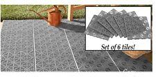 Grey 6 Piece Interlocking Outdoor Patio Flooring Tile Set, Create Walk Or BBQ