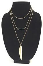 NEW Bohemian 3 Tier Feather Necklace Layered Turquoise Gold Toned