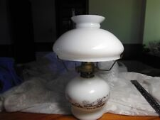Vintag 1950's Currier And Ives Milk Glass Shade Oil Lamp Lantern-Blast from Past