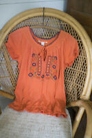 Lucky Brand Embroidered Boho Bohemian Top Blouse S Small