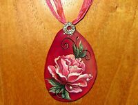 Natural stone Pendant Russian hand painted PINK ROSE with Golden drops