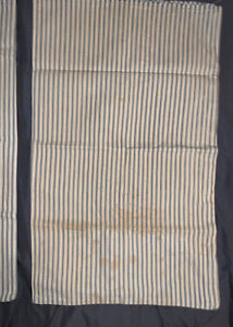 Vintage Original (2) Blue Stripe Ticking Pillow Covers For Standard Size.