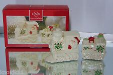 NEW Lenox Porcelain SANTA TRAIN Christmas SALT & PEPPER SHAKERS Engine Caboose!