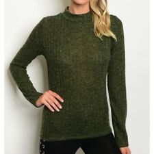 NWT Womens Green Knit Top Sweater Mock Neckline Ribbed Lightweight Junior Medium