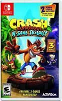 Crash Bandicoot N Sane Trilogy SWITCH NEW! 3 GAMES! 1 + 2 + WARPED! FAMILY GAME