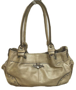 KATHY VAN ZEELAND Pearl Golden Beige Pebbled Vegan Leather Satchel Shoulder Bag