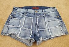 Womens juniors 7 for all mankind denim shorts 25 patch jean