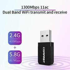 Mini WiFi 1300Mbps USB Wireless Netzwerk Empfänger Adapter Dual Band Dongle
