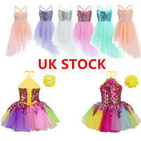 UK Girls Ballet Dress Dance Leotard Sequins Tutu Skirt Ballerina Dancing Costume