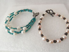 2 Sterling Silver / silver plated Freshwater Pearl Toggle Bracelets
