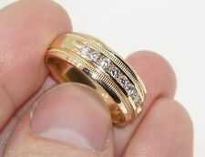 MENS SOLID 14K YELLOW GOLD 2/5 CTTW CHANNEL SET DIAMOND BAND RING 7.5MM SIZE 10
