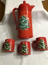 Waechtersbach Christmas Tree Thermal Plastic Vacuum Coffee Carafe + 3 Mugs