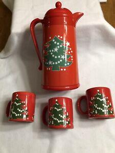 Waechtersbach Christmas Tree Thermal Plastic Vacuum Coffee Carafe + 3 Mugs