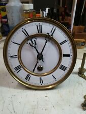 German wall clock movement parts repair time only porcelain dial