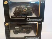 Double Set,Willys Jeep, x2 Open + Closed, Metal Model.  Cararama  1/43 Scale Car