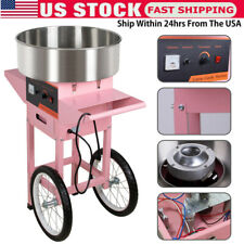 Electric Commercial Cotton Candy Machine Sugar Floss Maker Pink With Cart Stand Us