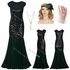 1920s Flapper Dress Costume Long Prom Great Gatsby 20s Ladies Fancy Party Dress