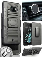 Black Grip Case Cover + Belt Clip Holster + Magnetic Car Mount for HTC U Ultra
