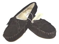 Sonoma Size Medium 7 - 8  Dark Brown Leather Faux Fur Moccasin Shoes Slippers