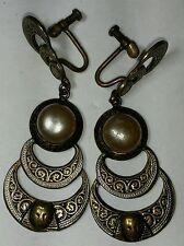 Art Nouveau ArtDeco Faux/Brass Vintage Egyptian Fac MidCentury Clip-on Earrings