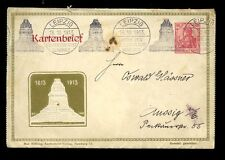 GERMANY 1913 LEIPZIG STATIONERY 10pf BATTLE NATIONS LETTERCARD + SPECIAL CANCEL