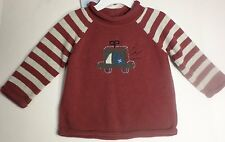 NWT First Impressions Boys 24 Month Crew Neck Sweater Maroon Gray Cotton
