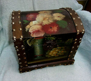 Wooden Chest / Keepsake Box. Hand Painted EXC. Cond