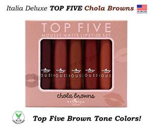 Italia TOP FIVE Mousse Matte Lipstick Set - Chola Browns, Vegan Lipsticks!