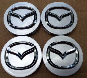 4 x 56mm Mazda Grey Wheel Center Hub Caps Badge Emblem