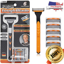 Micro Touch Triple-Blade Razor with 6 Refill Cartridges mens stainless steel