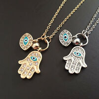 Fatima Palm Necklace Evil Eye Hamsa Hand Chain Pendant Jewelry For Women J&C