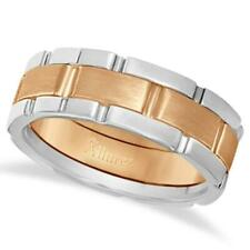 8.5mm Unique Wedding Ring Band 14k Two-Tone Gold