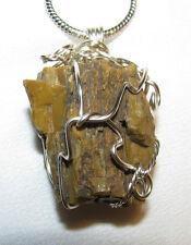 AZ Petrified Wood wire wrap sp snake chain necklace natural stone pendant #107