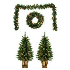 Christmas Holiday Living front door decor 4 pcs kit Artificial Pine Clear Lights