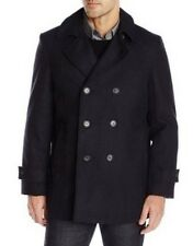 TOMMY HILFIGER BRADY FISHERMANS DOUBLE BREASTED PEA COAT, GREY, 46 REGULAR, NEW
