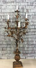 "Vtg Italian Huge 42"" 1940's  Lamp Gilt Wood Tole Florentine Chandelier"